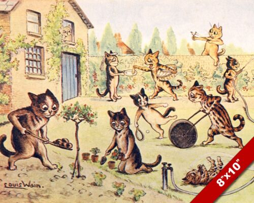 CATS BUSY WORKING IN THE GARDEN KITTEN LOUIS WAIN ART PAINTING REAL CANVAS PRINT