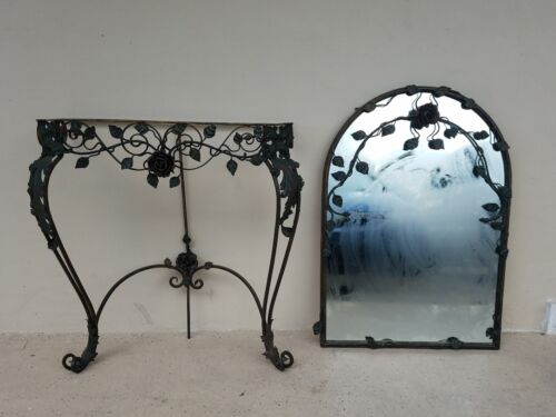1920'S FRENCH WROUGHT IRON CONSOLE AND MIRROR W FLOWERS AND LEAVES