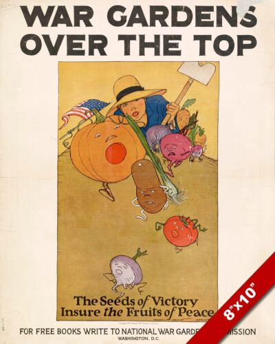 VICTORY GARDEN PROPAGANDA POSTER WWI WORLD WAR 1 ART PAINTING REAL CANVAS PRINT