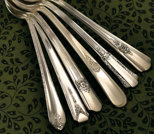6 Vintage Mismatched 1940 Collection Floral Deco Teaspoons Vintage Silverplate