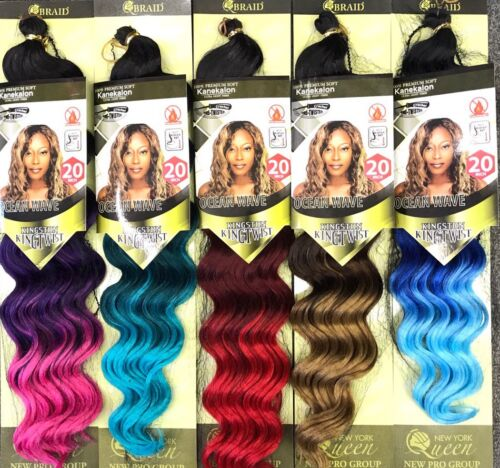 "Kingston Kingtwist Ocean Wave 20"" Crochet Braiding Hair Ombre Colors!!"