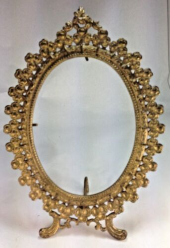 Antique Large Oval Brass Clover Flowers Picture Frame