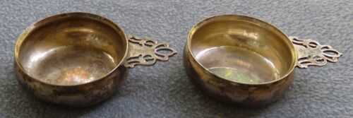 TWO Lunt Sterling Silver Pierced Handled Salt Cellar Cups Pipkins