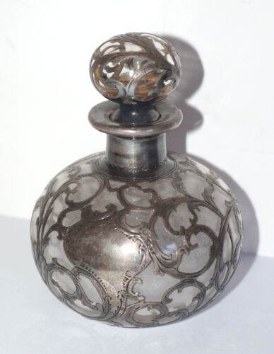 Vintage Art Nouveau Perfume Bottle Glass with Silver Pattern Overlay Hallmarked