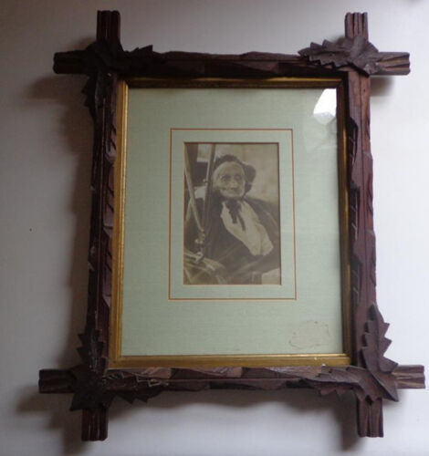 Antique Criss-Cross Frame Victorian Old Lady In Modle T Photo Photograph B&W