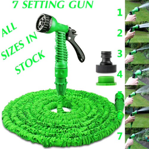 EXPANDABLE GARDEN HOSE FLEXIBLE 25/50/75/100 PIPE EXPANDING WITH SPRAY GUN GREEN <br/> ✔FAST POSTAGE✔TOP QUALITY✔CHOOSE LENGTH✔UK SELLER✔