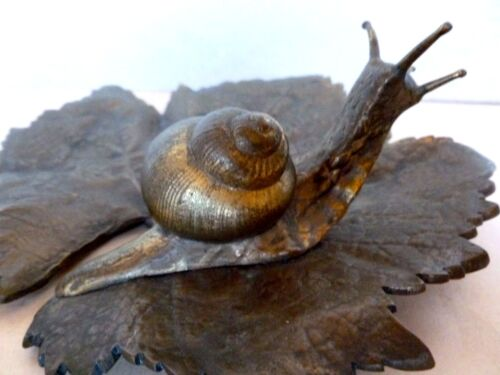 Snail on Leaf Figure Sculpture Tray Cast Bronze French Circa 1890-1900