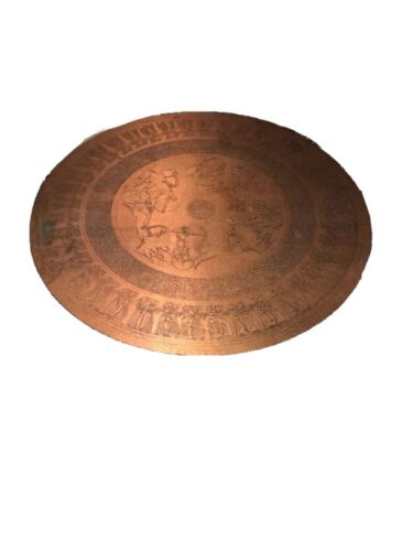 Vintage Spinning Coffee Table Formica Copper Look Egyptian Chariot Motif