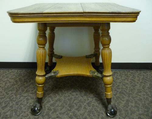 Antique Quarter sawn Oak Glass Ball & Brass Claw Parlor Table by Louis F. Nonnas