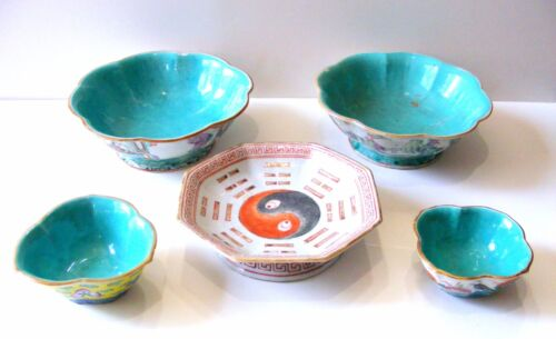 Lot of 5: Antique 19th C. Chinese TONGZHI Famille Rose Bowls SIGNED/MARKED