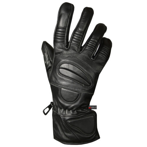 New Premium Leather Winter Motorcycle Riding Gloves Biker Thermal Black