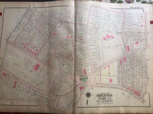 1925 BOSTON BRIGHTON OAK SQUARE MA FLORENCE CRITTENTON HOSPITAL COPY ATLAS MAP