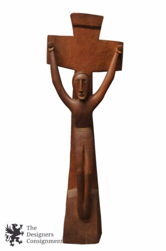 Vtg Papua New Guinea Hand Carved Wooden Crucifix Christianity Tribal Primitive