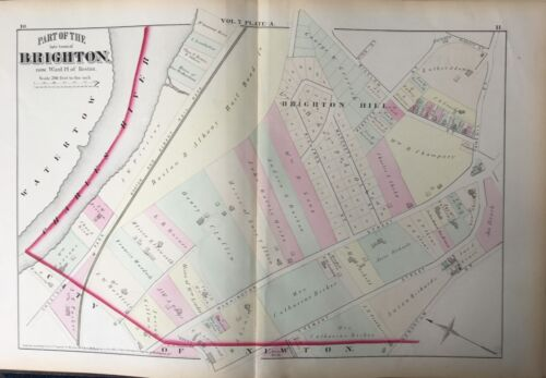 1875 G.M. HOPKINS, SUFFOLK COUNTY BRIGHTON HILL OAK SQUARE BOSTON, MA, ATLAS MAP