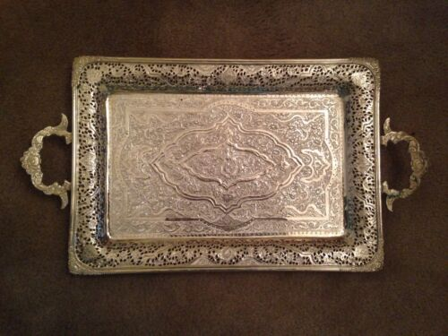 """PERSIAN PARVARESH 84 SILVER CARVED TRAY 14""""x 9 1/2"""" + HANDLE 36 OZ  1020.58 GR"""
