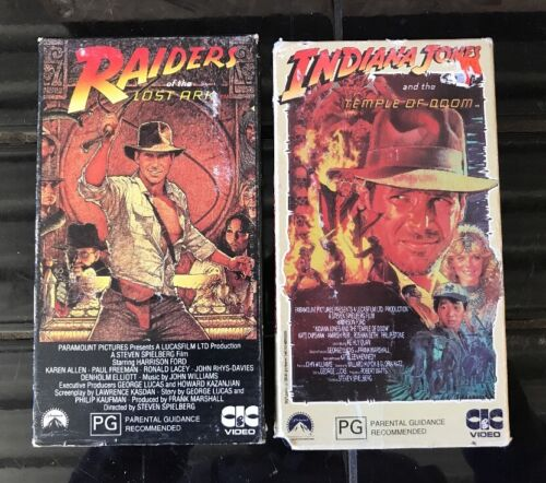 2 X INDIANA JONES AND THE TEMPLE OF DOOM & RAIDERS OF THE LOST ARK VHS TAPES