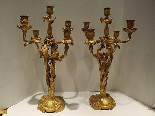 PAIR  FRENCH BRONZE ORMOLU 5 LIGHT CANDELABRAS SUSSE FRERES FOUNDRY