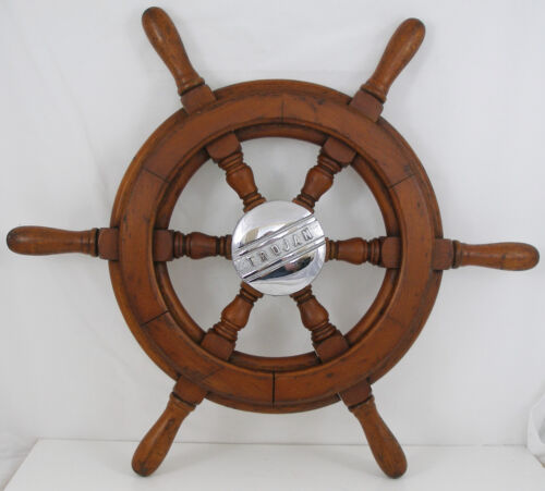 "Antique salvaged Trojan Helm Wheel  Ship wheel   19.5"" Mahogany"