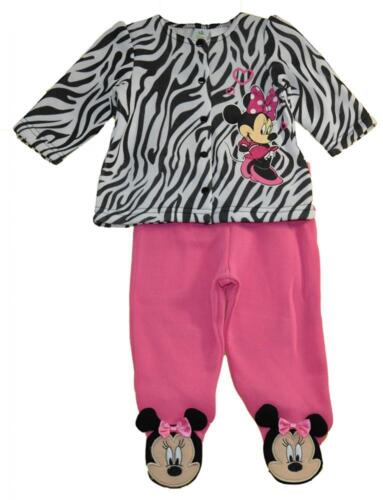 Minnie Mouse Infant Girls Zebra Top 2pc Footed Pant Set Size 0/3M 3/6M 6/9M