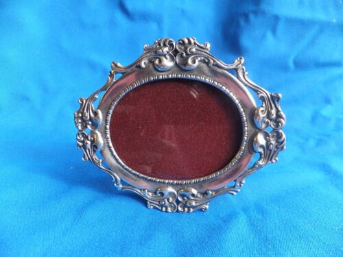 Vintage Elias Fine 1883 Pewter Oval Photo Picture frame with easel glass SN 925