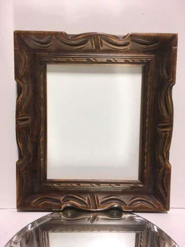 """VTG. MID-CENTURY Style Wide Carved Wood Chunky Picture FRAME Fits 10""""x12"""""""
