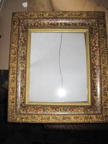 Antique Carved Gilt & Faux Marble Victorian Eastlake Shadowbox Frame c1880