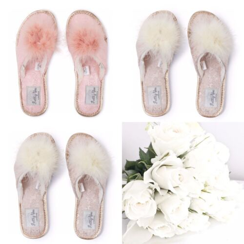 Pretty You London Womens Ladies Luxury Diamante and Bow Toe Post Slippers - NEW <br/> FAUX FUR SLIPPERS WITH MARIBOU TRIM DETAILS - Gorgeous