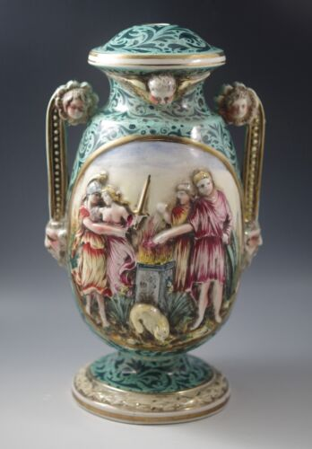 VINTAGE CAPODIMONTE ITALY FIGURAL CHERUBS DEMONS MYTHICAL LAMP