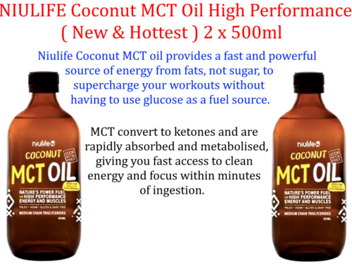 2 x 500ml NIULIFE Coconut High Performance MCT Oil ( 1L ) ( New & Hottest )