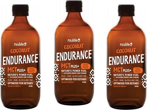 3 x 500ml NIULIFE Coconut Endurance MCT + Plus (1.5L) (Twice as long as MCT Oil)