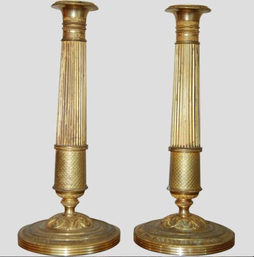 19th century French Charles X Ormolu Gilt Bronze Candlesticks Pair, Christie's