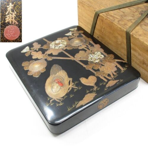 H946: Real old Japanese lacquer ware ink stone case with great KORIN MAKIE