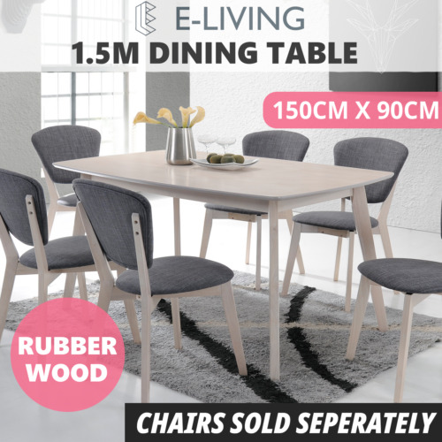 Dining Table 1.5M 6 Seater Whitewashed Oak Timber Scandinavian Modern Kitchen <br/> ⭐Exclusive Design ⭐Next Day Dispatch ⭐Top Quality⭐