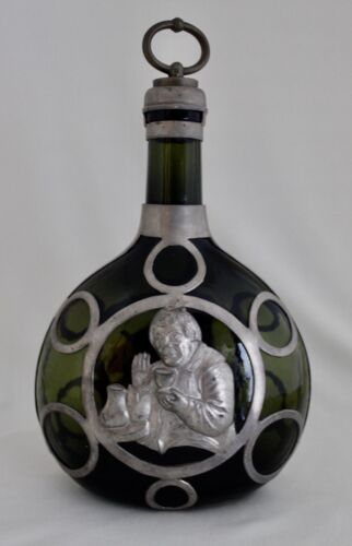 Antique Green Glass Wine Decanter Figural Pewter Mount  German Touch Marks 10""