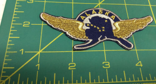 New Alaska iron on embroidered patch Alaska Pilot Wings - gold wings Alaska map