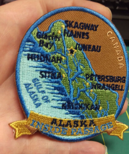 New Alaska iron on embroidered patch Alaska Inside Passage with Towns and Canada