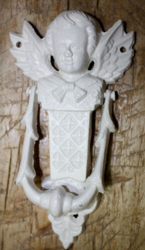 Cast Iron Antique Style VICTORIAN ANGEL Door Knocker WHITE Finish Cherub