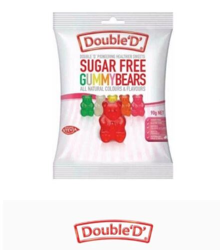 12 x 90g DOUBLE D HEALTHIER SWEETS Sugar Free Gummy bears Gummybears * FREE POST
