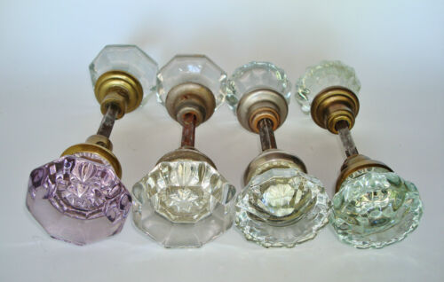 Lot of 4 Pairs of Salvaged Antique Victorian ASSORTED Glass Door Knobs