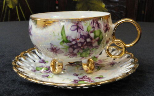 Vintage Royal Sealy China Japan Tea Cup & Saucer Set Ring Foot Violets Gold Trim