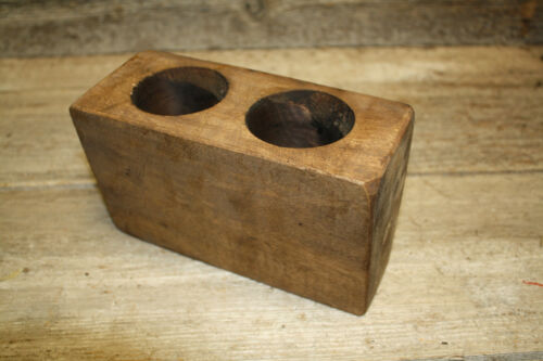 Lot of 20, 2 Hole Wooden Sugar Mold Wood Candle Holder Primitive