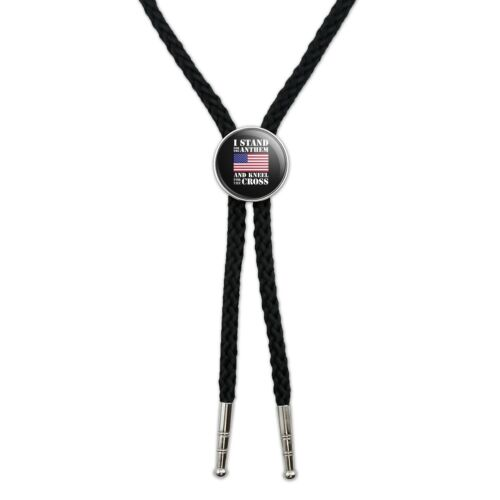 I Stand For The Flag Kneel Cross USA Western Southwest Bolo Tie