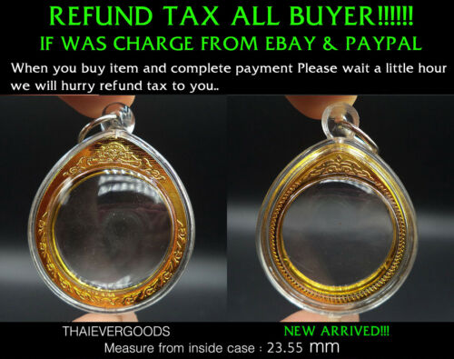 EMPTY ACRYLIC CYCLE CASE GOLD FRAME GOOD GRADE THAI AMULET SIZE 23.55 mm