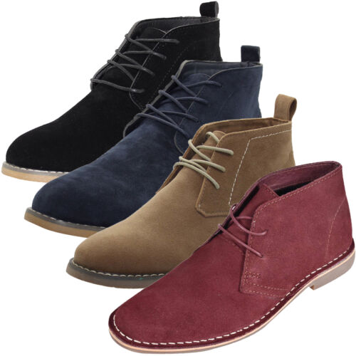 Mens Outdoor Suede Leather Style Desert Boots Lace Block Heel High Top Shoes