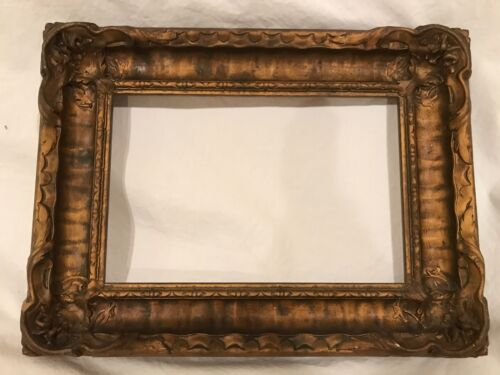 Antique 10x7 Newcomb Macklin Style Arts & Crafts Gold Picture Frame c 1920s