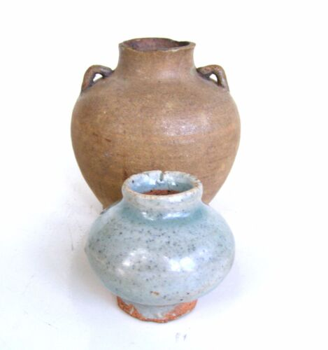 (2) Small Antique 14th/15th C. Chinese or Thailand Celadon and Amber Glazed Jars