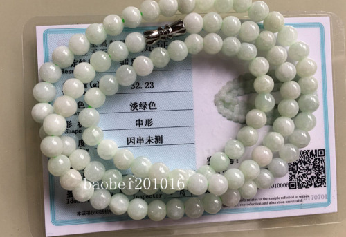 5mm  Certified Natural Untreated Light Green Jadeite Jade Round Beads Necklace K