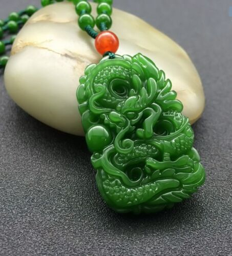 Natural Green Hand-carved Chinese Hetian Jade Pendant - Dragon-Free Necklace%  S