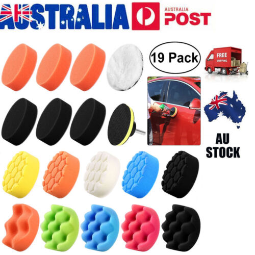 19Pcs 3inch 80mm Waffle Sponge Buff Polishing Pad Kit M10 Drill for Car Polisher