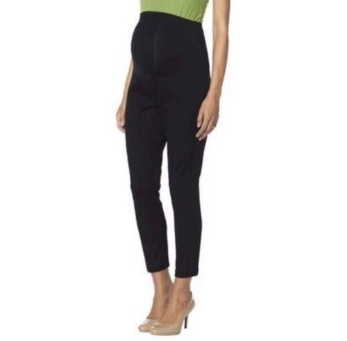 New Women's Maternity Clothes Over Belly Ankle Dress Pants Black NWT Size M